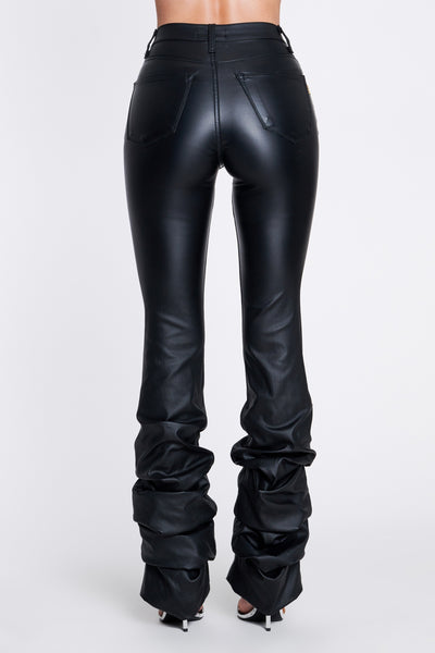 Ohhhh She's Baddd Vegan Leather Stacked Leg Jeans