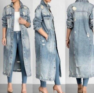 Keeping It Vintage Long Distressed Denim Jacket-Kurvy