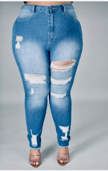 Cutting Ties High Waist Distressed Jeans