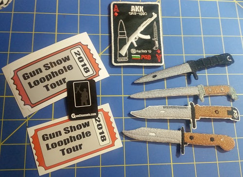 Kalashnikov Bayonet Patches Set of 4 WITH Playing Card Patch