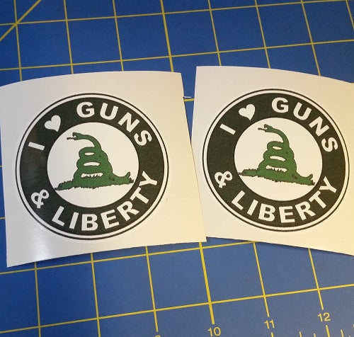 Sold Out - I Love Guns & Liberty Stickers (2 Pack)