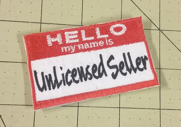 "Sold Out - Unlicensed Seller ""Name Tag"" Patch"