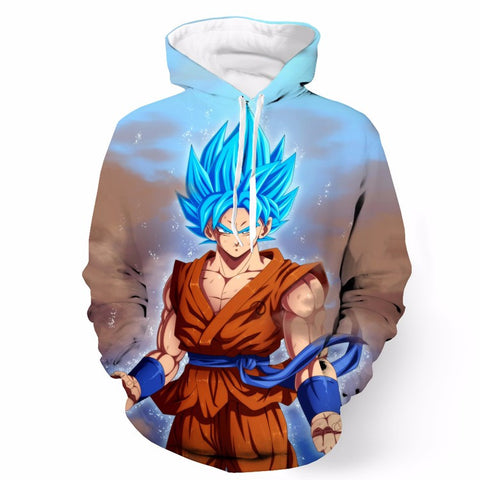 Dragon Ball Z Blue Goku Hoodie Sweatshirts Pullovers