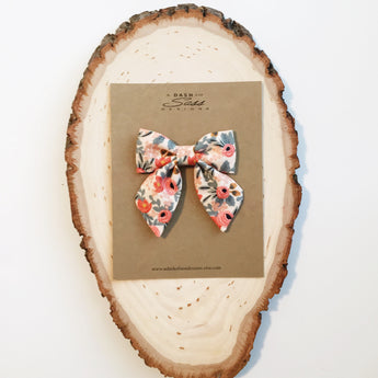 Sailor Bow - Cotton + Steele Rifle Paper Co Floral in Small, Medium, and Large on Clip or Elastic