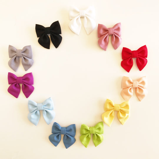 SMALL Sailor Bow - Solid Colored Bow on Clip or Elastic