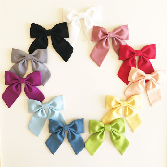 LARGE Sailor Bow - Solid Colored Bow on Clip or Elastic