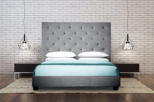 Chase Grey Tufted Platform Bed
