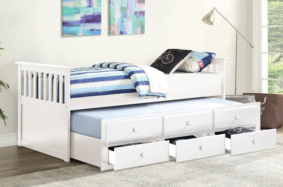 Nash Twin Bed with Trundle and Storage Drawers - White