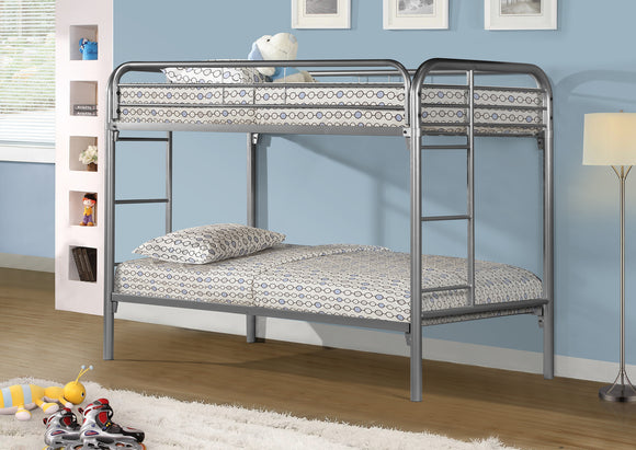 Duke Twin/Twin Bunk Bed (Black, Silver, White)
