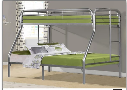 Duke Twin/Full Bunk Bed (Black, Silver, White)