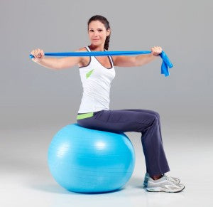 Model with exercise ball