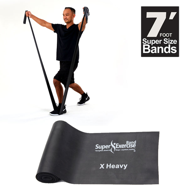 Super Exercise Band® X HEAVY Strength Black 7 ft. Latex Free Resistance Band With Travel Pouch, Exclusive iPhone App & Workout E-book©