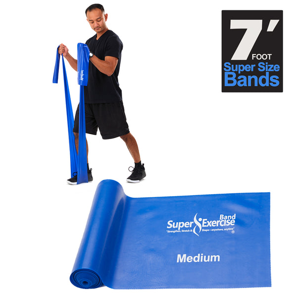 Super Exercise Band® MEDIUM Strength Blue 7 Ft. Latex Free Resistance Band With Travel Pouch & Workout E-book©.