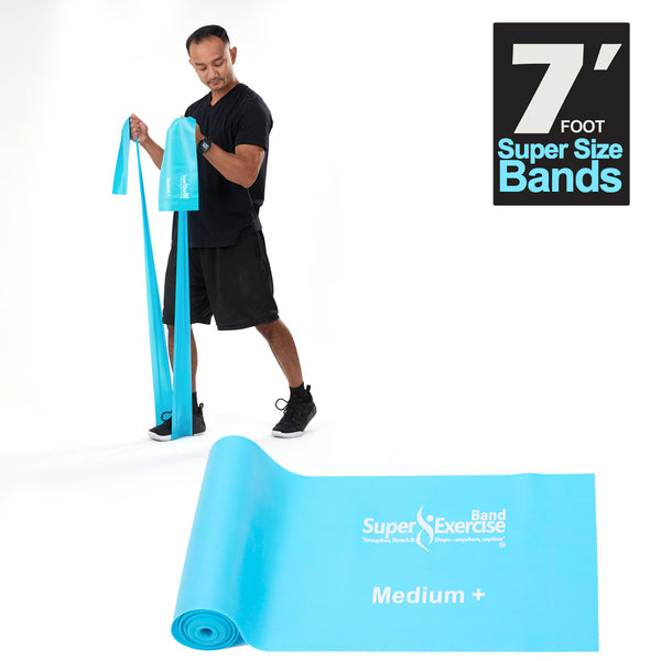 Super Exercise Band 7 ft. Resistance Bands Set of 2. Fitness Kit in Light+ and Medium+ Strength Latex Free Bands with Door Anchor, Carry Pouch & eBook