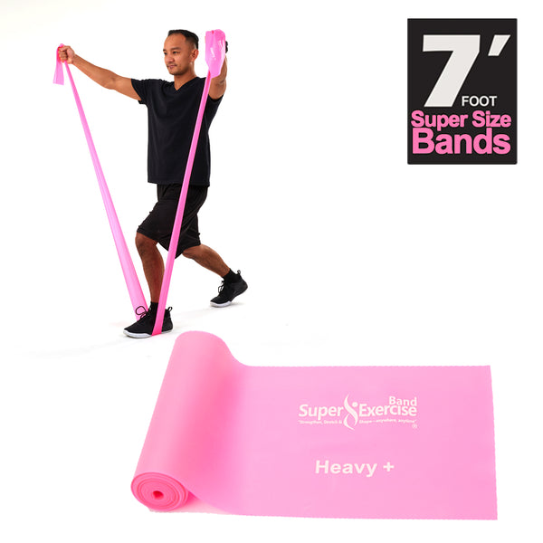 Super Exercise Band® HEAVY+ Strength Pink 7 Ft. Latex Free Resistance Band With Travel Pouch, Exclusive iPhone App & Workout E-book©.
