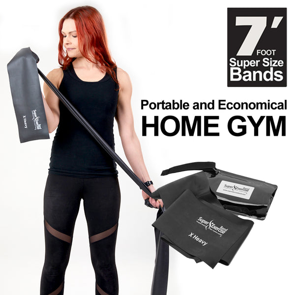Super Exercise Band® X HEAVY Strength Black 7 ft. Latex Free Resistance Band With Travel Pouch & Workout E-book©