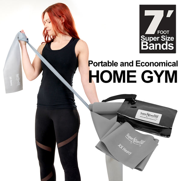 Super Exercise Band® XX HEAVY Strength Gray 7 ft. Latex Free Resistance Band With Travel Pouch, Exclusive iPhone App & Workout E-book.