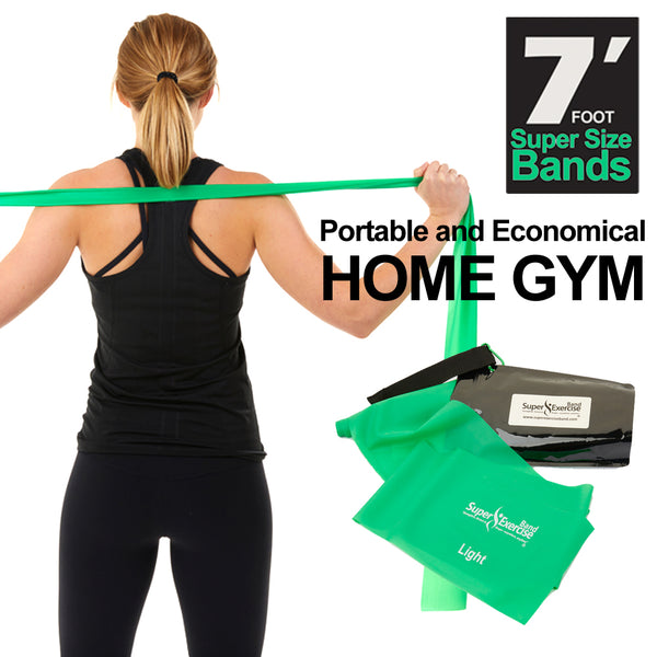 Super Exercise Band 7 ft. Resistance Bands 2 Set. Fitness Kit in Light and Medium Strength Latex Free Bands with Door Anchor, Carry Pouch, and eBook.