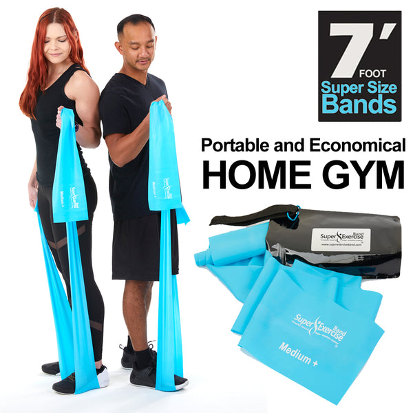 Super Exercise Band 7 ft. Resistance Bands Set of 2. Fitness Kit in Medium+ and Heavy+ Strength Latex Free Bands with Door Anchor, Carry Pouch & eBook