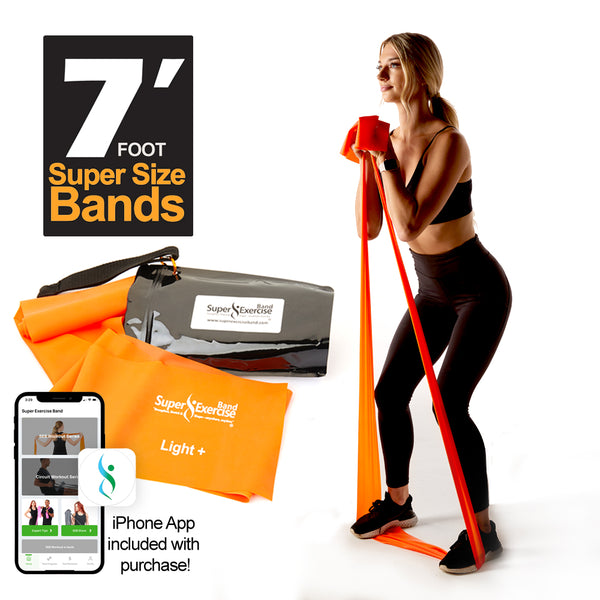 Super Exercise Band® LIGHT+ Strength Orange 7 Ft. Latex Free Resistance Band With Travel Pouch, Exclusive iPhone App & Workout E-book©