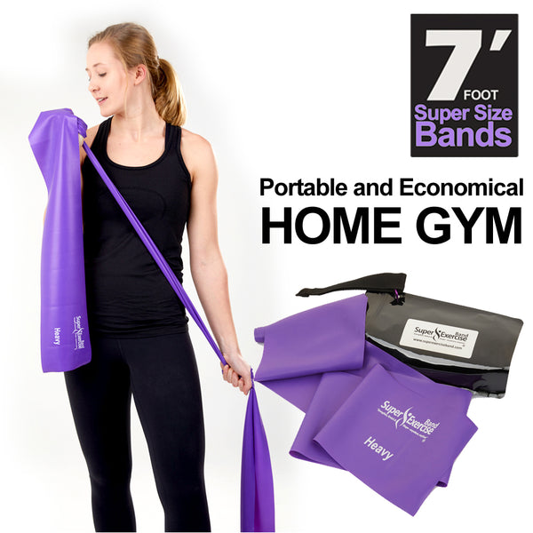 Super Exercise Band® HEAVY Strength Purple 7 Ft. Latex Free Resistance Band With Travel Pouch, Exclusive iPhone App & Workout E-book©.