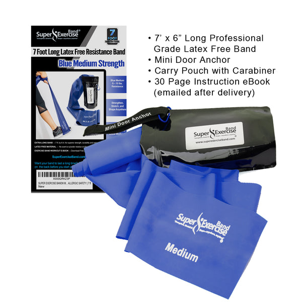 Super Exercise Band® MEDIUM Strength Blue 7 Ft. Latex Free Resistance Band With Travel Pouch, Exclusive iPhone App & Workout E-book©.