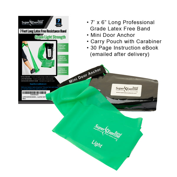 Super Exercise Band® LIGHT Strength Green 7 Ft. Latex Free Resistance Band With Travel Pouch & Workout E-book©