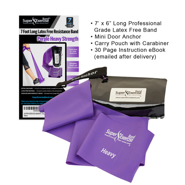 Super Exercise Band® HEAVY Strength Purple 7 Ft. Latex Free Resistance Band With Travel Pouch & Workout E-book©.