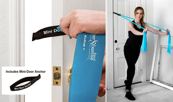 7 Ft. Resistance Band, X Light Strength (1 - 4 lbs. Tension), Yellow, Latex Free. Travel Pouch and Mini Door Anchor Included.