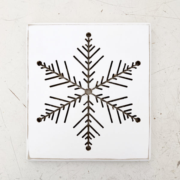 Snowflake Cut Out Sign // White