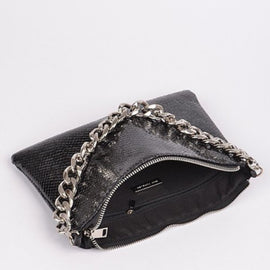 Black Silver Chain Clutch