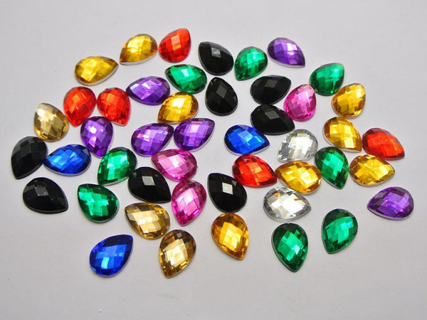 200 Mixed Teardrop Rhinestone Gems No Hole, Gem, Mokelli