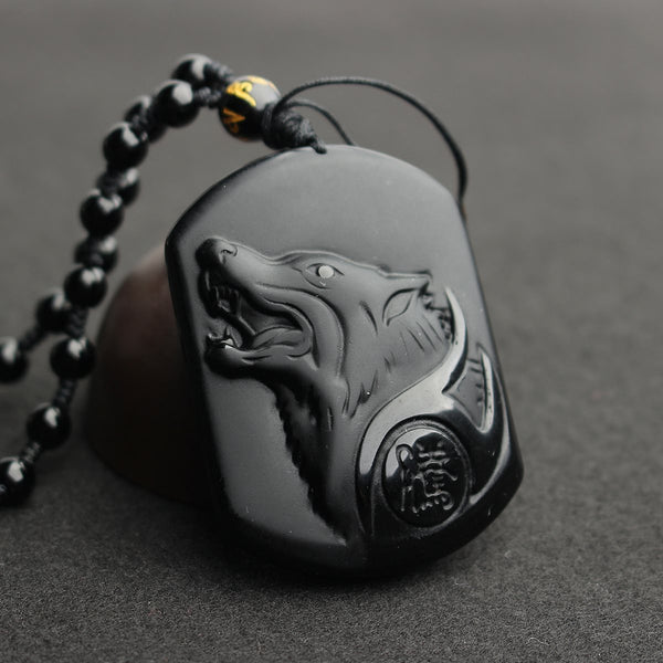 Black Obsidian Wolf Necklace, Necklace, Mokelli