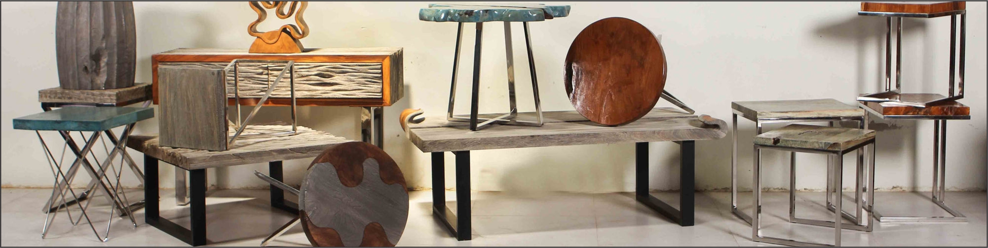 Metal & Wood side tables