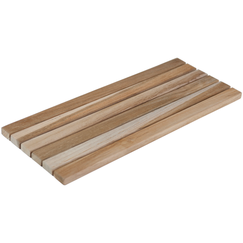 100206	Rect. trivet Long , teak wood