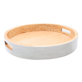 100207	 Round tray with handle , wood