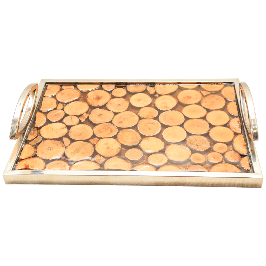 100262 Silver & Wood Tray
