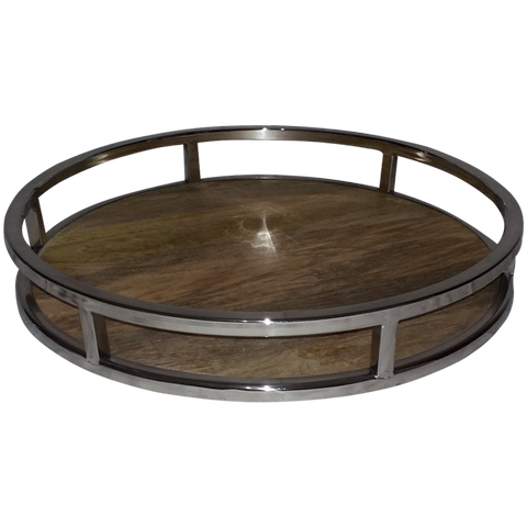 100263 Round Metal & Wood Tray