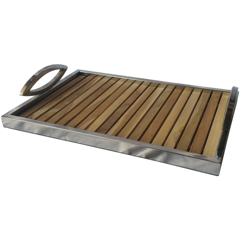 100310	Terraced Tray - Metal / Teak Wood