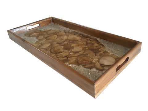 100312	Gold Teak & Resin Tray with sheels/Glass Long