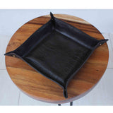 100316 Chocolate Crocco Leather Tray