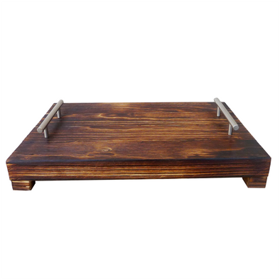 100330	Brushed Shou Sugi Ban Tray W/ Metal Handles