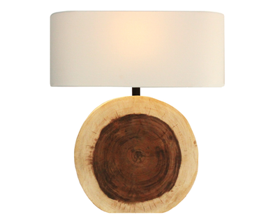 110092 Circular Wood Lamp w/ Oval Ivory Linen Shade