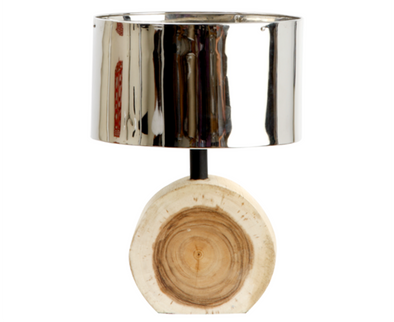 110094 Wood Chunk Small Lamp w/ Silver Metal Shade (726011)