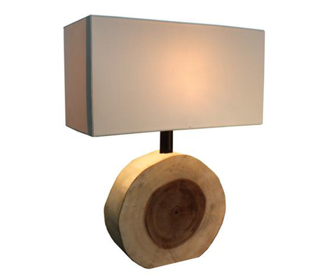 110094 Wood Chunk Small Lamp w/ Brown Fabric SHade (726011)