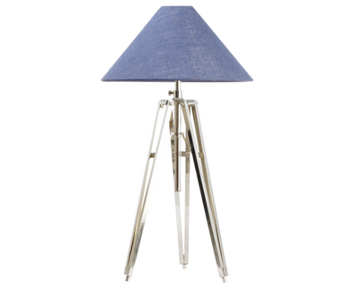 110136 Metal Tripod w/ Blue Jute Shade (526023)
