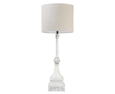 110140 Carved Wood Distressed White Lamp with Corse Linen Drum Shade