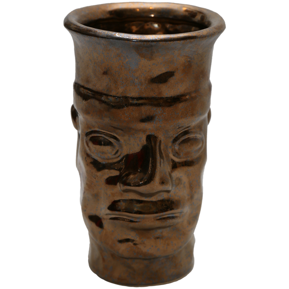 160230	Ancient Face Vase with Burnt Gold Finish