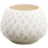 160278 White Wash Vase with Concrete tribal marks
