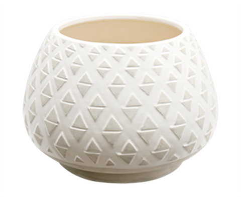 160277 White Wash Bowl/ Planter/ Pot - with Concrete tribal marks